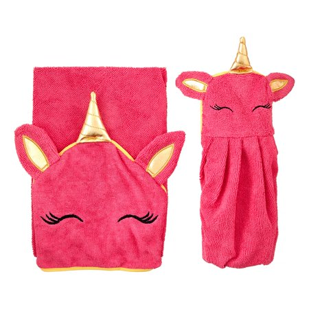 Unicorn Hooded Towel and Washcloth Bath Gift Set for Kids, 2 Pieces ()