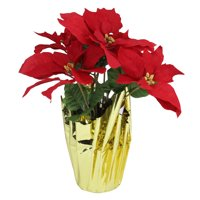 "16"" Red Artificial Christmas Poinsettia Arrangement with Gold Wrapped Pot"