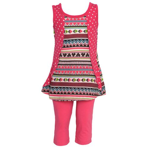 Little Girls Fuchsia Art Deco Polka Dotted Pattern 2 Pc Legging Set 4