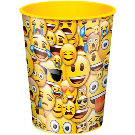 Plastic Cup (Package of 12 Smile Emoji Plastic Cups,)