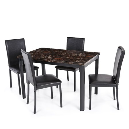 Ikyaa 5PCS Modern Kitchen Dining Room Table Chair Set for 4 Person Beautiful Marble-like Top Max 180kg Load Capacity