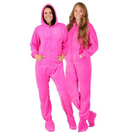 Footed Pajamas - Footed Pajamas - Perfect Pink Adult Hoodie Chenille Onesie  - Walmart.com abccd35a9