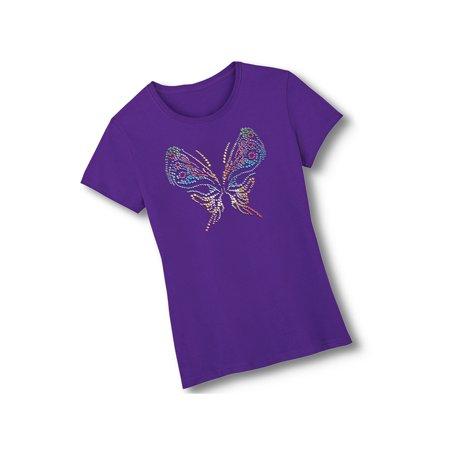 Rhinestone Butterfly Short Sleeve Embellished Cotton Tee Shirt, Medium, Purple