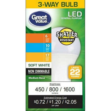 Great Value Led Light Bulbs 6 17w Watt Equivalent 3