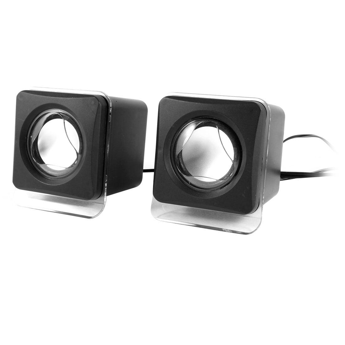 Unique Bargains Black Volume Control 2.0 Channel USB Portable Mini Cube Speaker Sound Box Pair