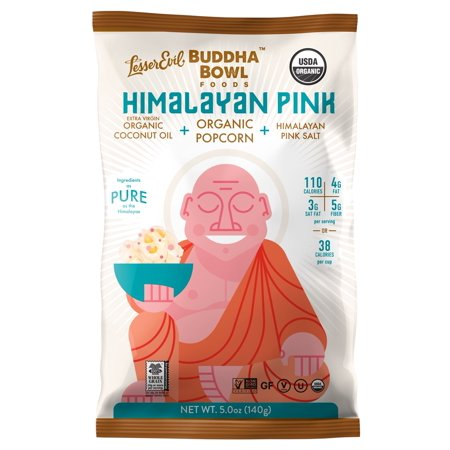 LesserEvil Buddha Bowl Organic Popcorn, Himalayan Pink, 5.0 Ounce (Pack of 12) - 5.0 Oz (Pack of 12) (Pink Popcorn)