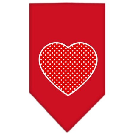 Red Swiss Dot Heart Screen Print Bandana Red Large (Red Swiss Dot)