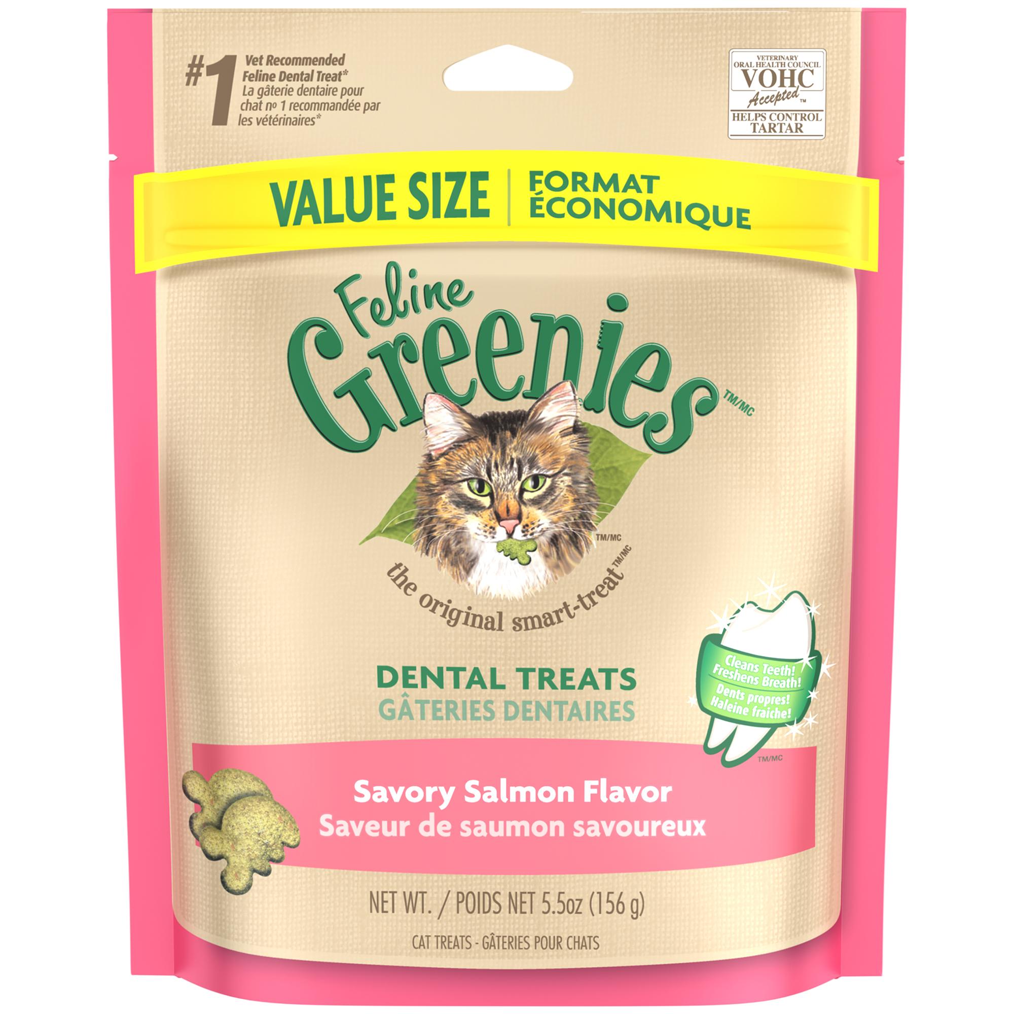 FELINE GREENIES Dental Cat Treats Savory Salmon Flavor, 5.5 oz. Pouch