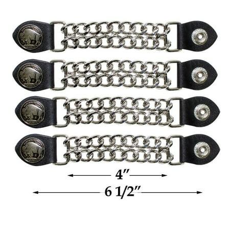 Double Chain Vest Extender (Buffalo Nickle Vest Extender Chrome Double Diamond Cut Chrome Chain 4 Pcs Per Set)