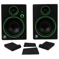 "Pair Mackie CR4BT 4"" Studio Monitors/Computer Speakers+Bluetooth+Isolation Pads"