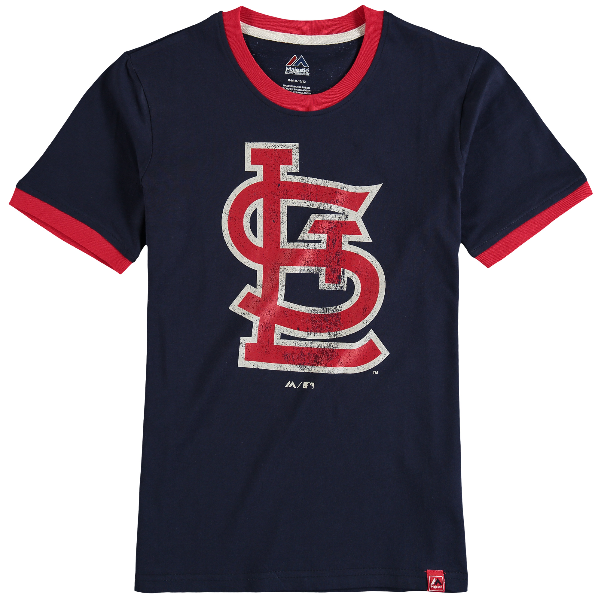 St. Louis Cardinals Majestic Youth Baseball Stripes Ring T-Shirt - Navy
