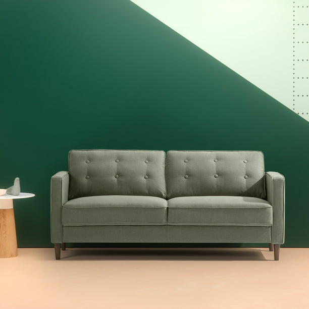 "Zinus Lauren Mid-Century Button Tufted Upholstered 74"" Sofa, Pear Green"