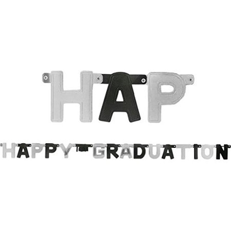 Happy Graduation Large Foil Letter Banner- Black & Silver by Party America](Letter Banners)