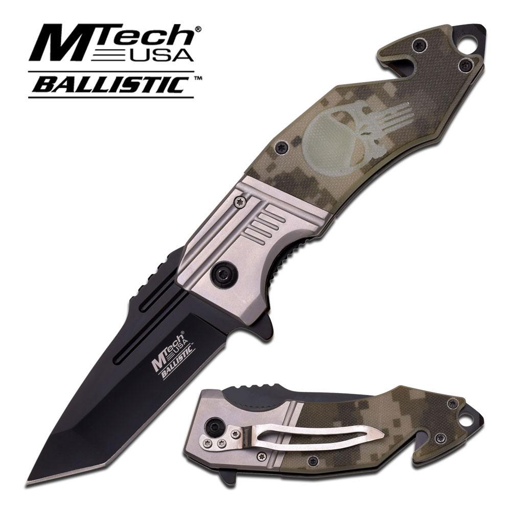 "Master Cutlery MT-A855DG 4.75"" Folder, Skull Design on Camo G10 Handle"