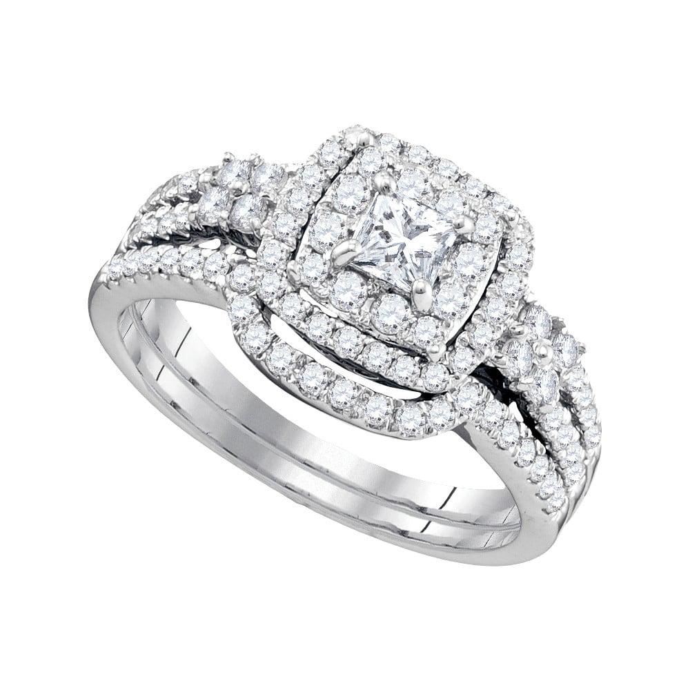 14k White Gold Womens Princess Diamond Halo Bridal Wedding Engagement Ring Band Set ( 1 cttw.) by Mia Diamonds