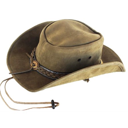 Horse Medium Western Cowboy Indiana Jones Crushable Oiled Leather Outback Hat 24H06](Horse Hat)