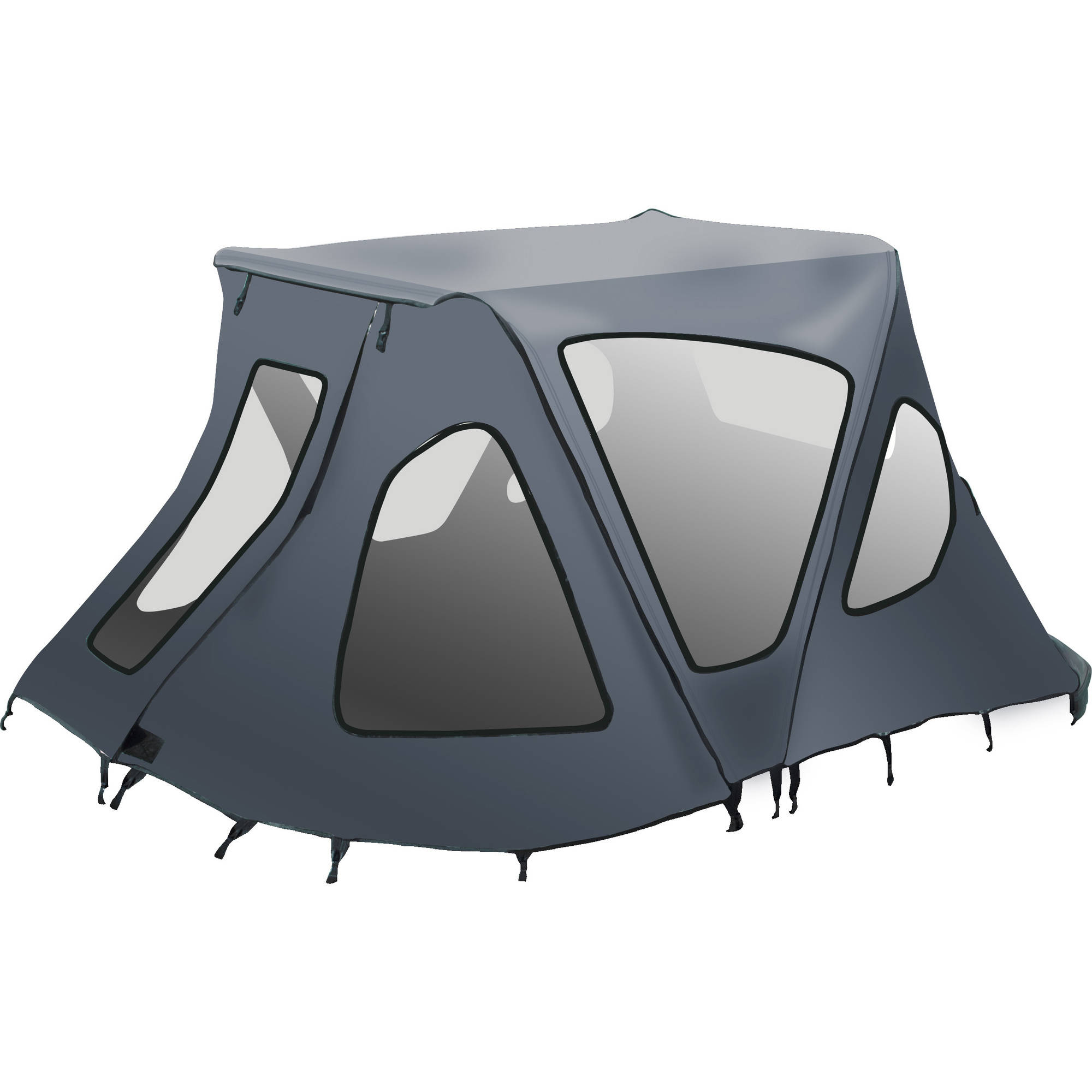 ALEKO BWTENT380G Winter Canopy Boat Tent Rain Sun Wind Snow Waterproof Shelter Covering for Inflatable Boat, Gray