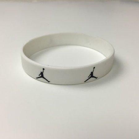 Personalized Silicone Wristbands - SLIM JORDAN WRISTBAND SILICONE BRACELET WHITE