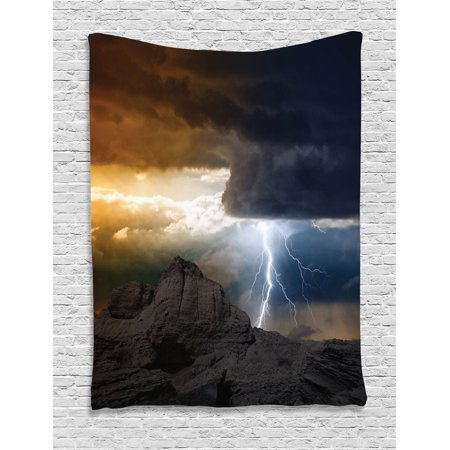 Lake House Decor Wall Hanging Tapestry Bright Lightning Rays From Dark Cloudting Down To The Mountain Storm Theme Bedroom Living Room Dorm