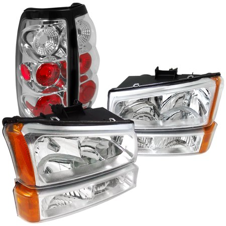 Spec-D Tuning For 2003-2007 Chevy Silverado Chrome Clear Headlights + Bumper Lights + Rear Tail Lamps (Left+Right) 2003 2004 2005 2006 2007 55 Chevy Park Light