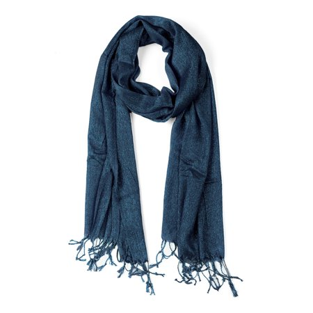Shiny Glitter Shawl Wrap Scarves with Tassel for Women Men Dark Blue - image 1 of 1