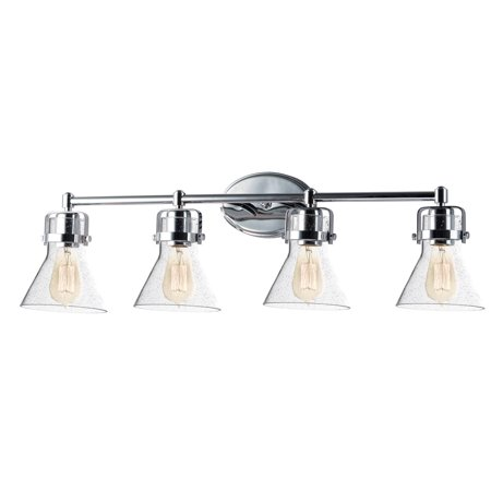 Bathroom vanity 4 light bulb fixture with polished chrome finish steel material mb bulbs 33 inch Chrome bathroom vanity light fixtures