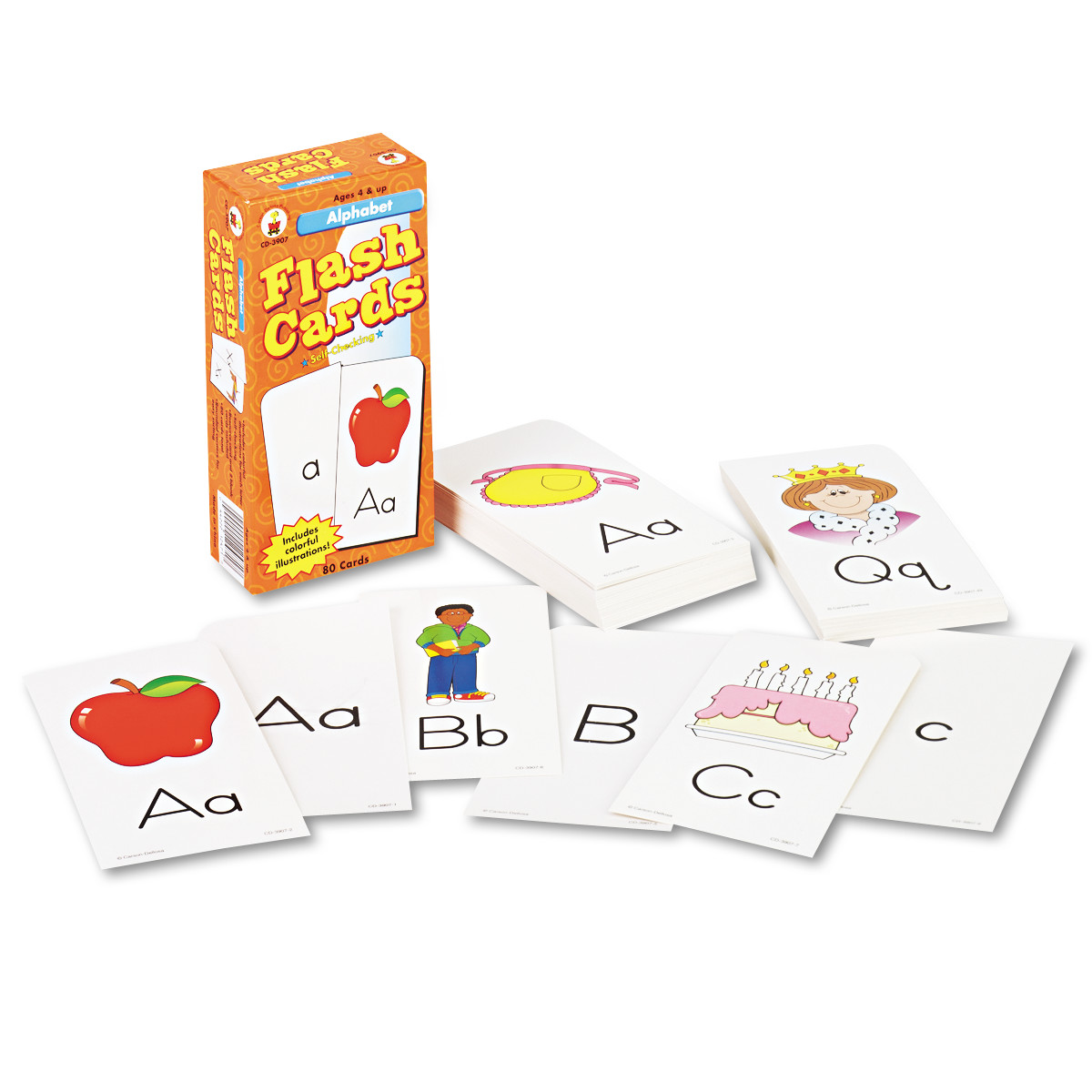 Carson-Dellosa Publishing Flash Cards, Alphabet, 3w x 6h, 80/Pack -CDPCD3907