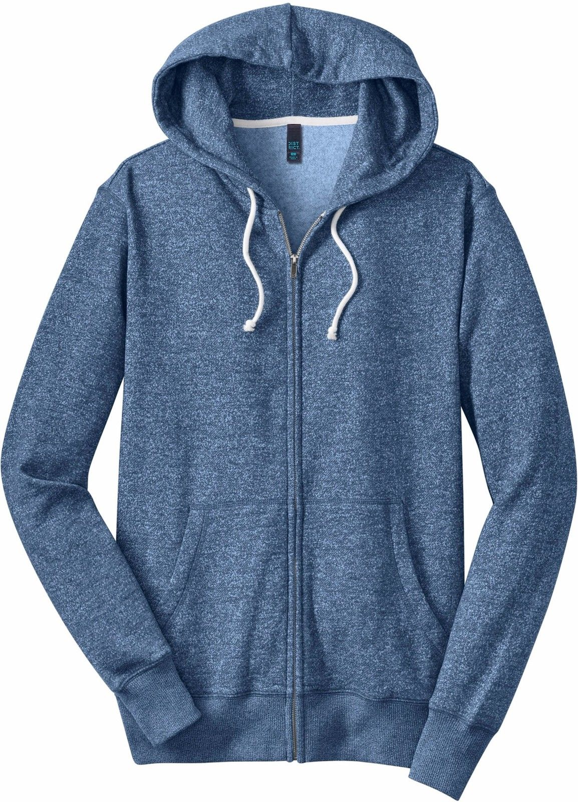 District Young Men's Marled Fleece Full Zip Hoodie DT192 X-Small-Blue