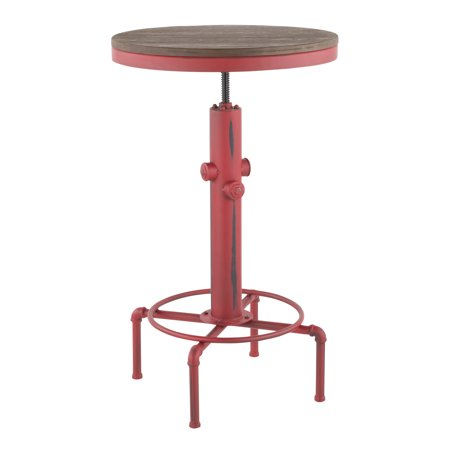 Hydra Industrial Bar Table in Vintage Red Metal and Brown Wood-Pressed Grain Bamboo by LumiSource ()