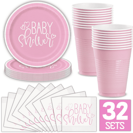 Girl Baby Shower Party Supplies for 32 Guests (Pink) Includes: Paper Plates, Luncheon Napkins, 16 oz Cups, Classy and Stylish Light Pink Design](Wedding Shower Plates And Napkins)