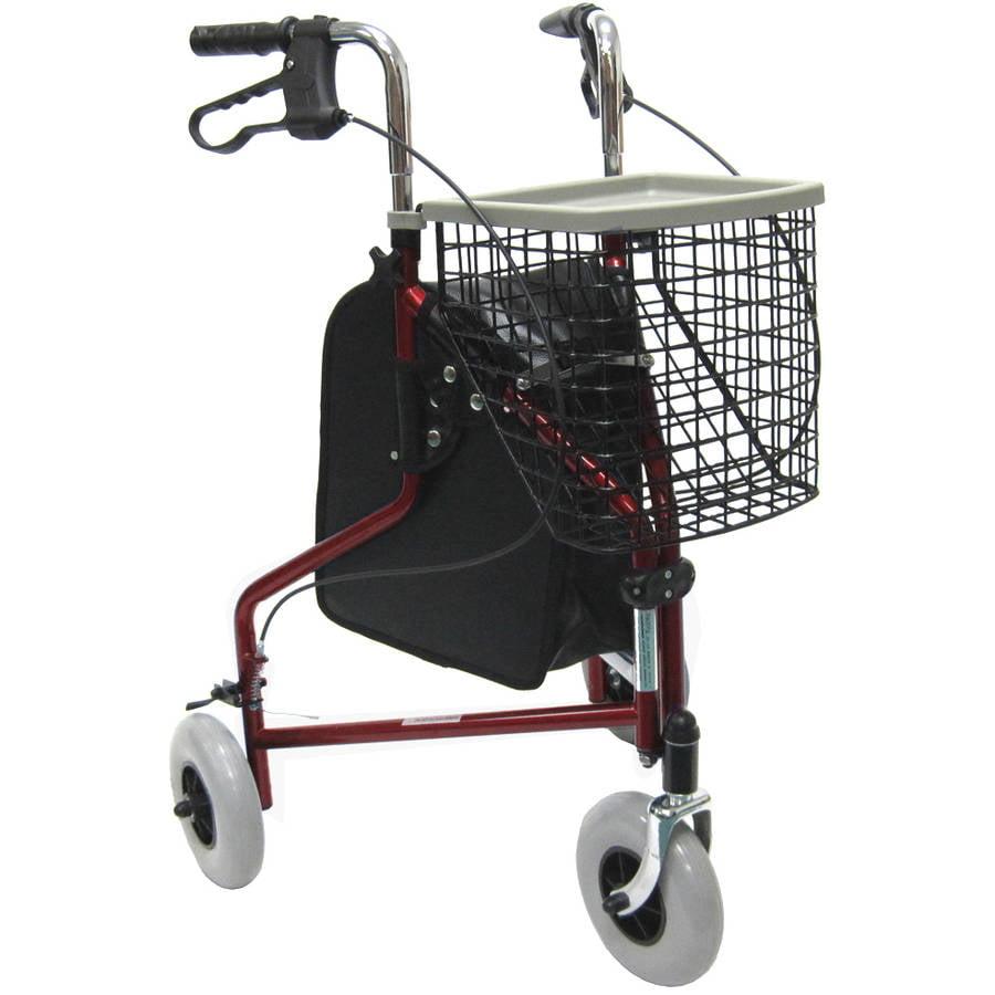 Karman R-3600 three wheel rollator with basket, and bag, Burgundy