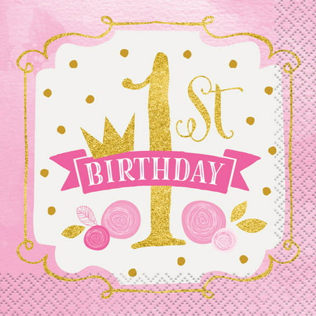 (3 Pack) Pink and Gold Girls First Birthday Beverage Napkins, - 18th Birthday Napkins