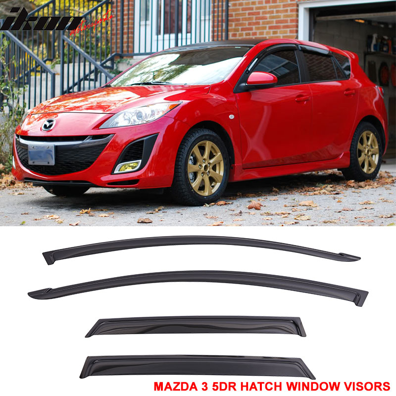 Fit For 10-13 Mazda 3 5dr Hatch Window Visors Sun Vent Gu...
