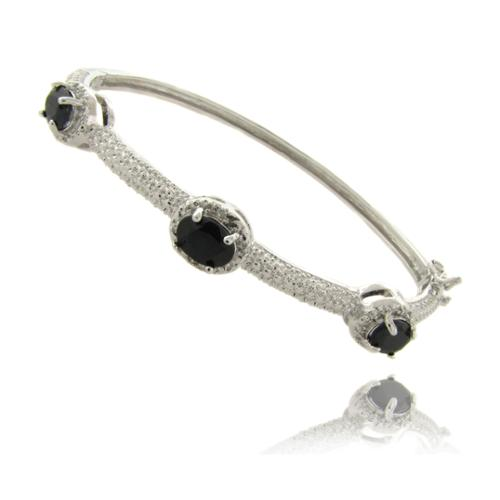 Dolce Giavonna Silverplated Sapphire and Diamond Accent 3-stone Bracelet by Overstock