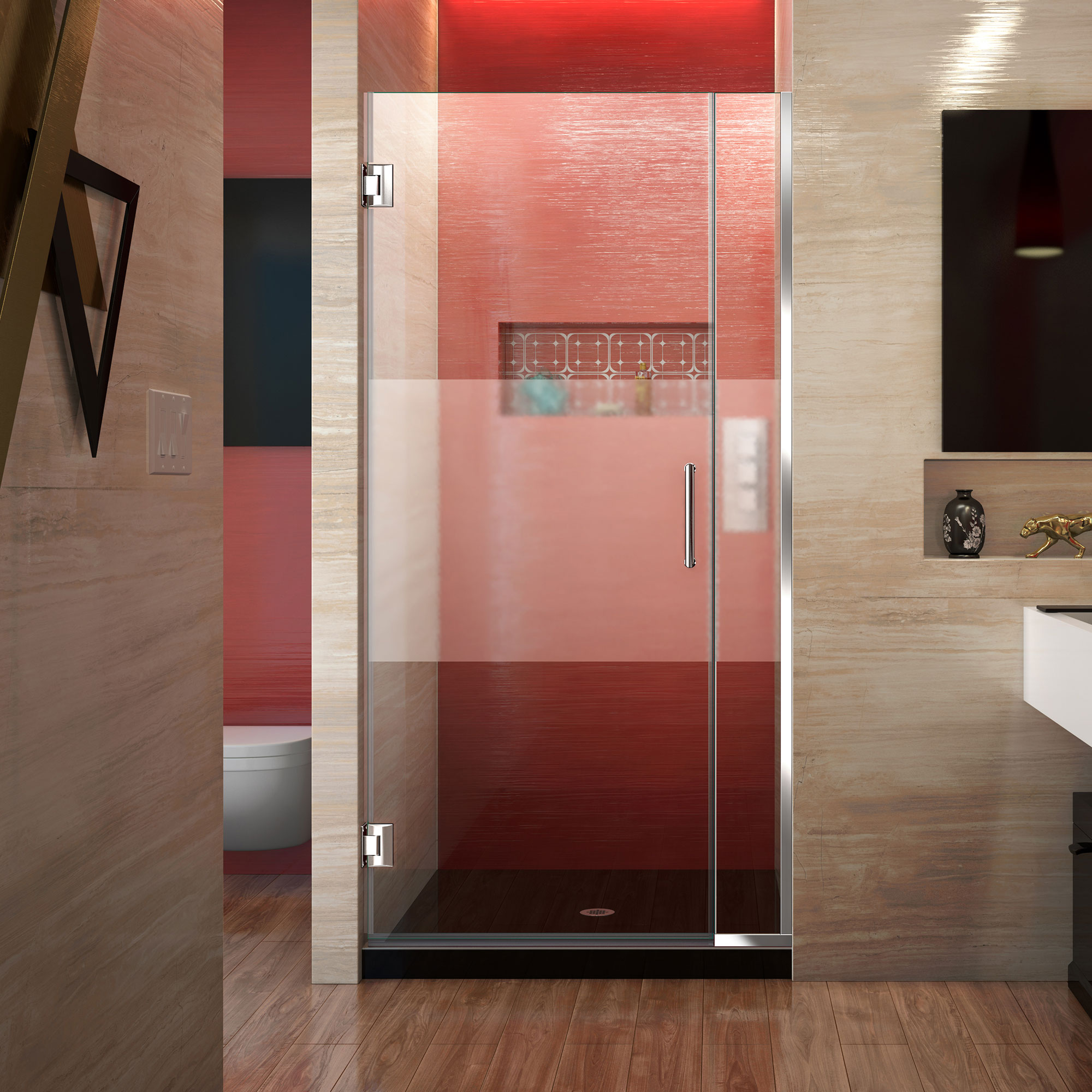 DreamLine Unidoor Plus 36-36 1/2 in. W x 72 in. H Frameless Hinged Shower Door, Frosted Band, Chrome