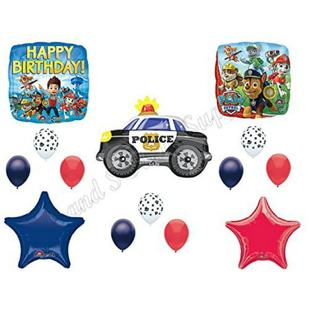 PAW PATROL CHASE Police Car Birthday Balloons Decoration Supplies Party - Car Birthday Supplies