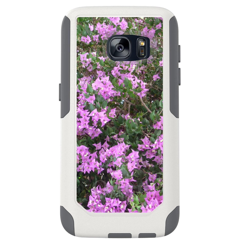 DistinctInk™ Custom White OtterBox Commuter Series Case for Samsung Galaxy S7 - Purple Flowers Mykonos Greece
