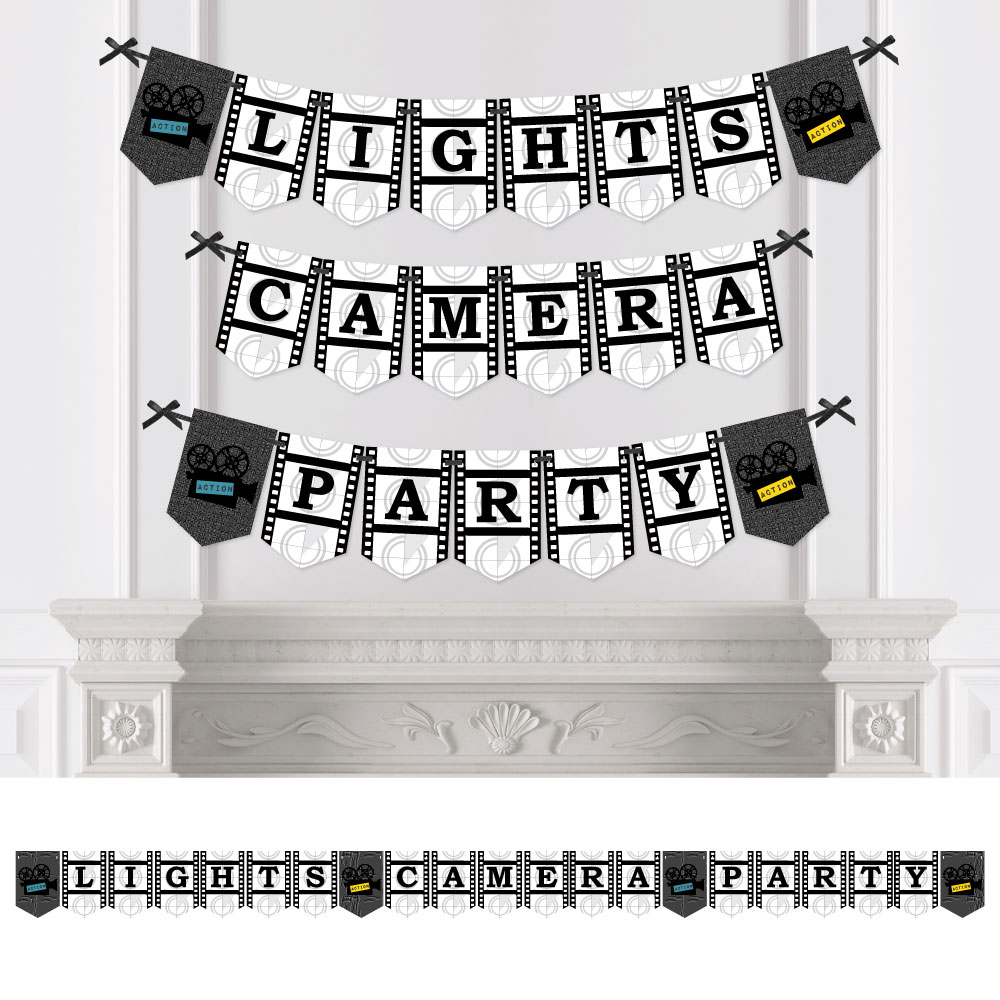 Movie - Party Bunting Banner - Hollywood Party Decorations - Lights, Camera, Party