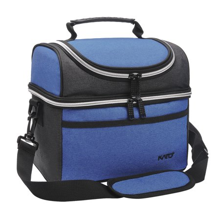 Compact Insulated Lunch Bag Thermos Bento Container Cooler Tote Dual Compartment with Shoulder Strap and Front Pocket (Lunch Container Bag)