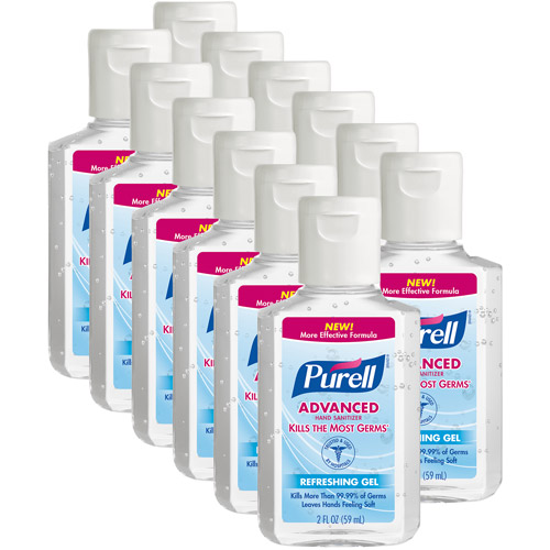 PURELL Advanced Refreshing Gel Hand Sanitizer, 2 fl oz, Pack of 12