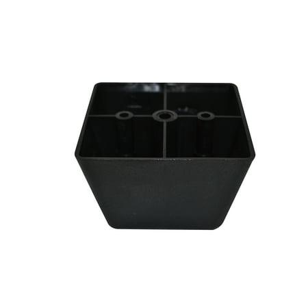 Wild Square Leg (Black Plastic Square 2.5 Inch Leg For Sofas and Recliners)