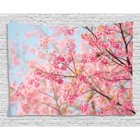 Baby Sports Wall Hanging - Floral Tapestry, Japanese Sakura Cherry Blossom Branches Full of Spring Beauty Picture, Wall Hanging for Bedroom Living Room Dorm Decor, 60W X 40L Inches, Light Pink Baby Blue, by Ambesonne