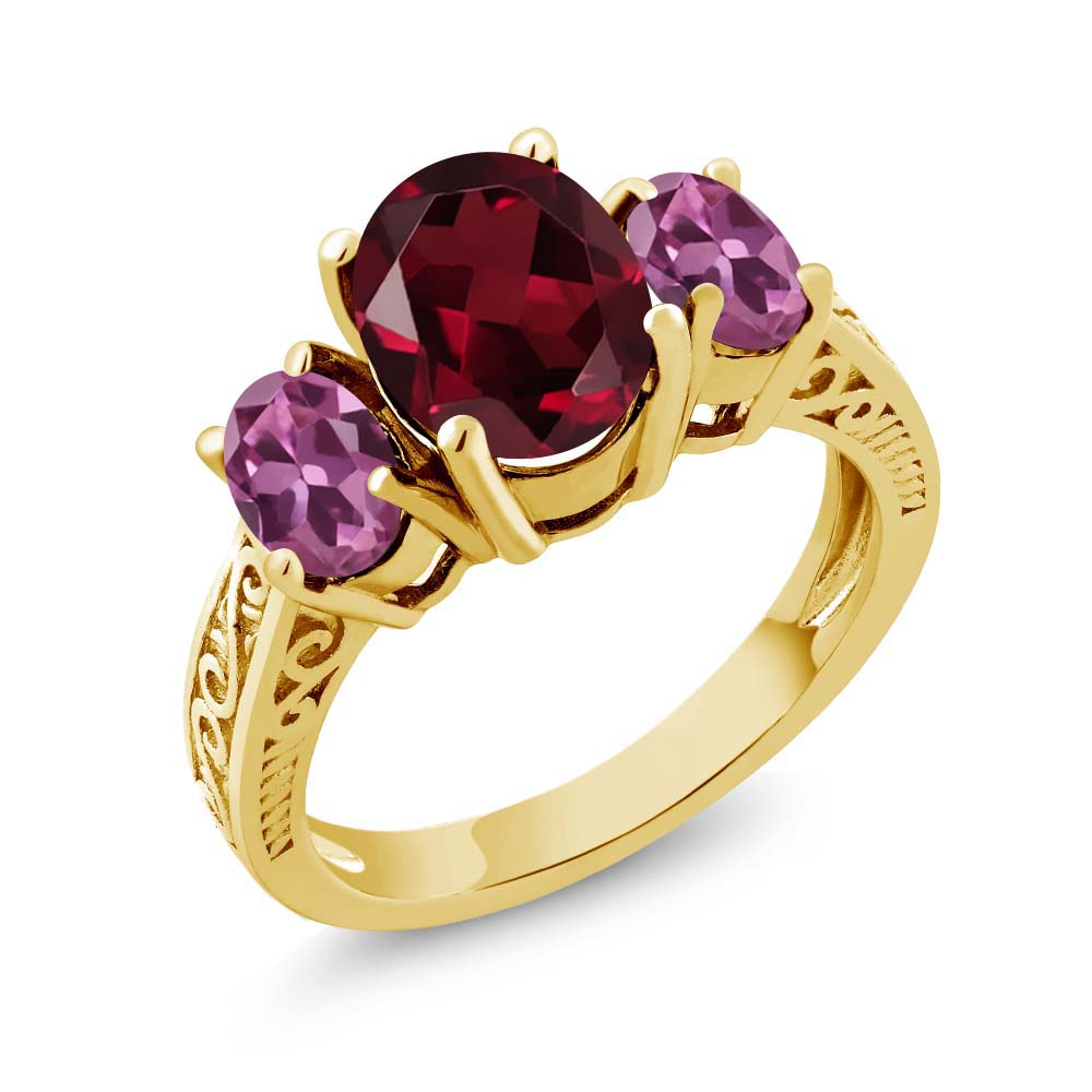 3.20 Ct Oval Red Rhodolite Garnet Pink Tourmaline 14K Yellow Gold 3-Stone Ring by