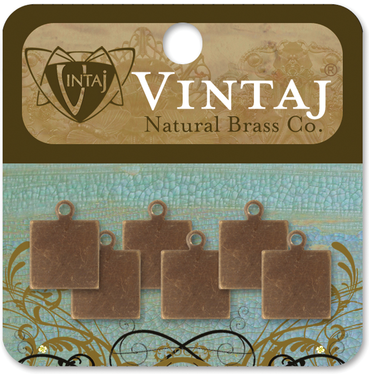 Vintaj Metal Altered Blanks 6pk, Square Tag, 9mm
