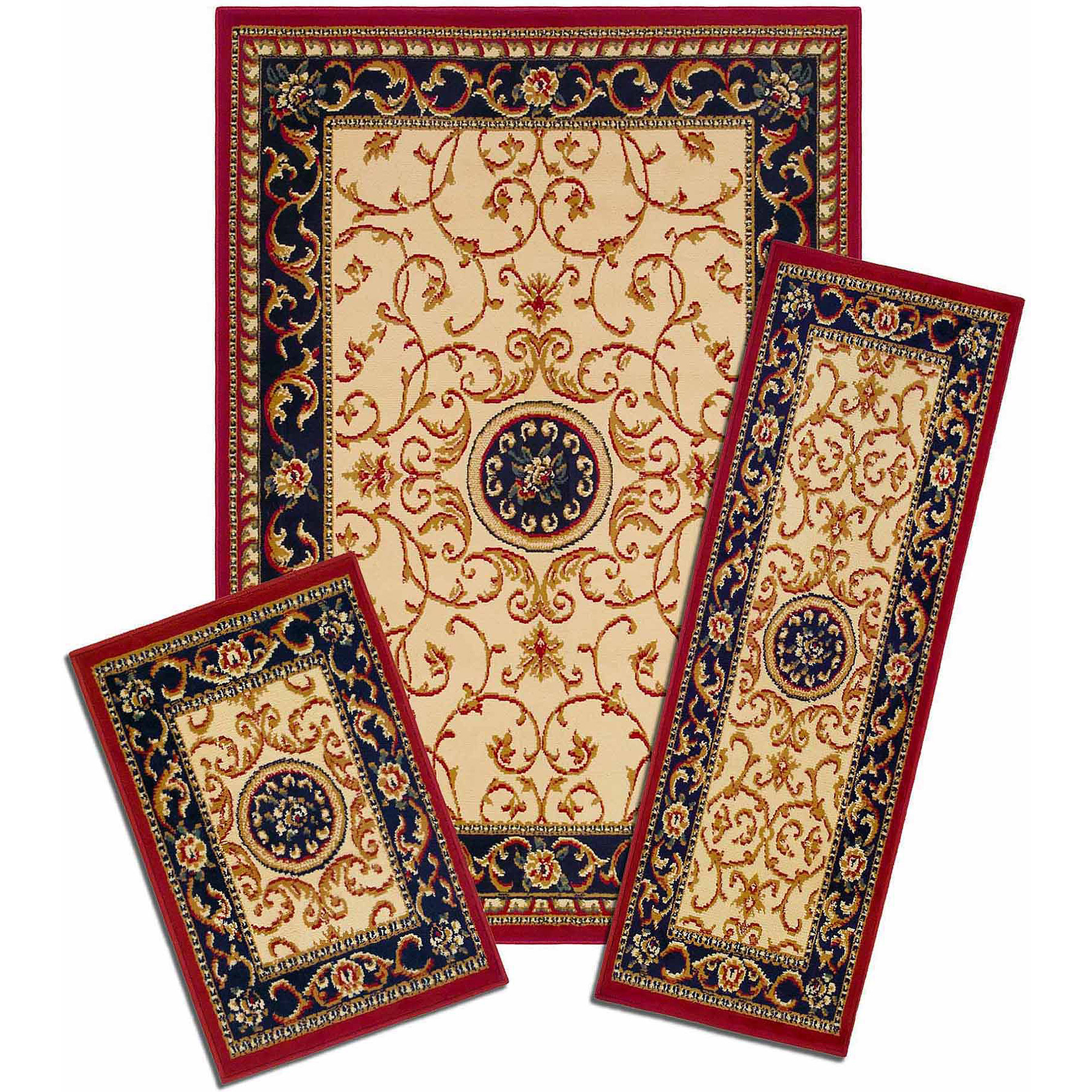 "Capri 3 Piece Rug Set, Wrought Iron Medallion 3-piece Capri area rug set contains: 5' x 7' area rug with matching 22"" x 59"" runner and 22"" x 31"" mat"