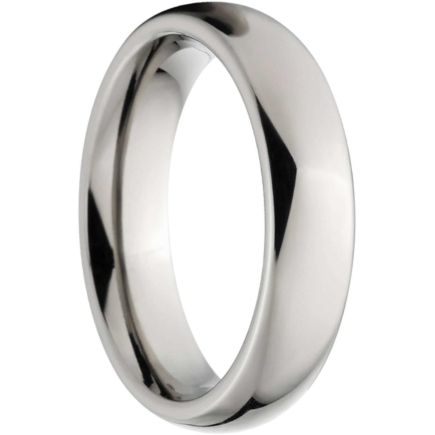 polished 4mm titanium wedding band with fort fit design