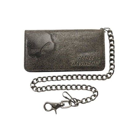 Men's Burnished Bi-Fold Skull Biker Chain Wallet BM2616L-TanBlk, Harley Davidson
