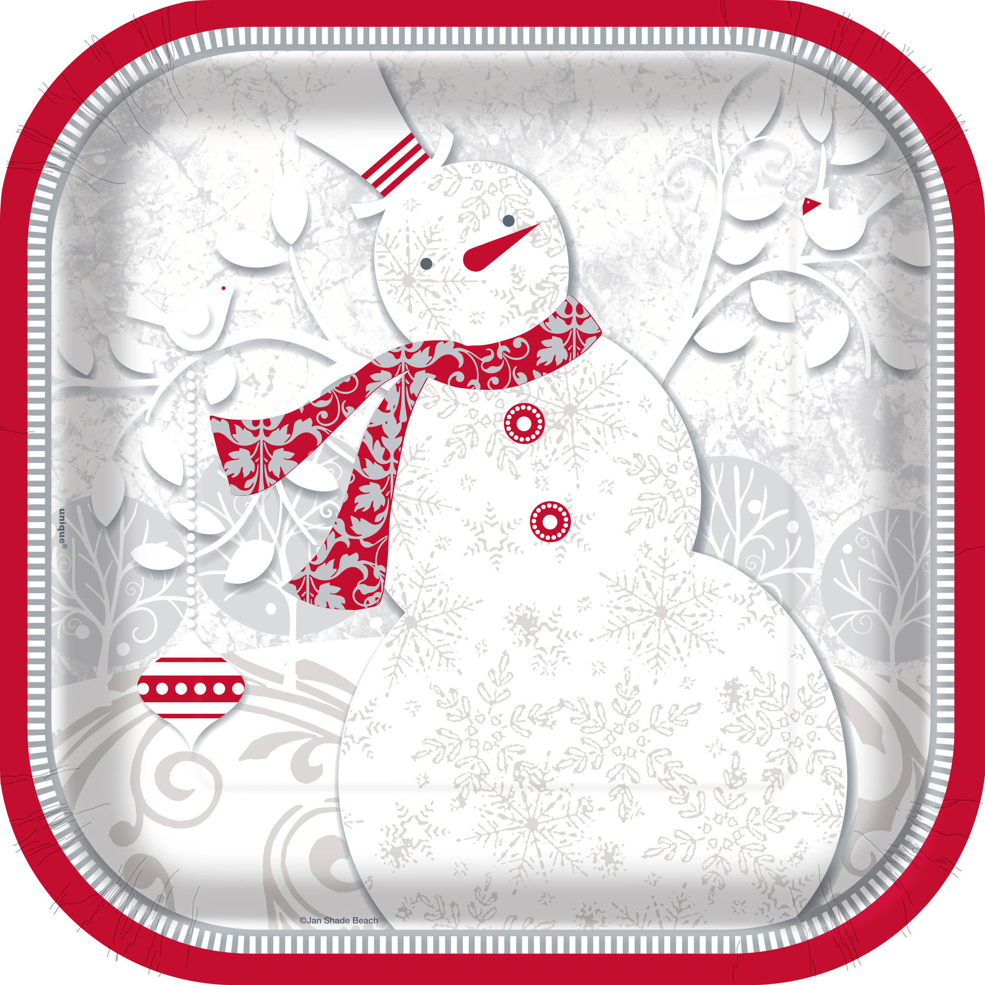 """9"""" Square Frosted Holiday Party Plates, 24ct"""