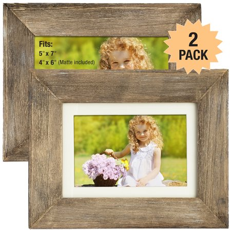 Rustic Barnwood  Picture Frame Set:  Fits 5x7 or 4x6 Photos with included Matte Photo Frames Holder for Wall Desktop or Tabletop Display. Thick Weathered Gray Wood Home Decor.