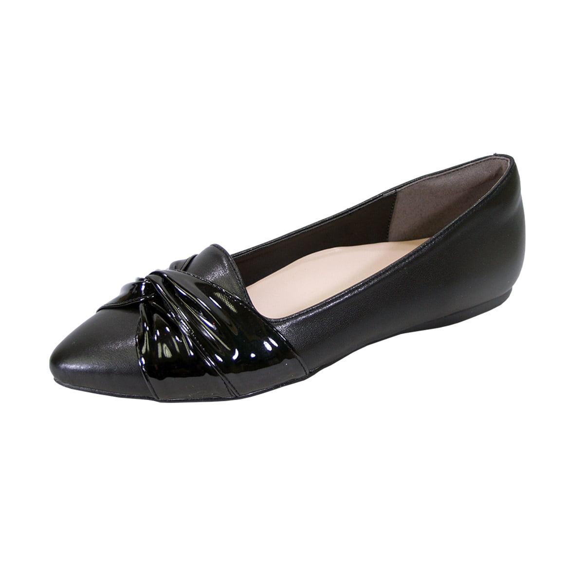 Peerage Whitney Ft6045 Women Wide Width Pointed Toe Flats Black 10